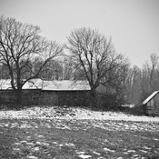 black and white old barn