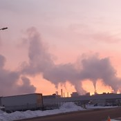 sunrise with smoke stacks of Stelco & Dofasco this morning -20