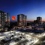 Blood moon over Missisauga (composite)