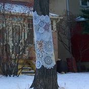 Tree bombing with doilies!