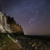 Orion Setting Over Port George Waterfall.