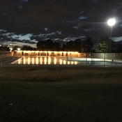 Jarry Park outdoor swimming pool at night