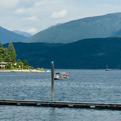 Boating on Kootenay Lake in BC.