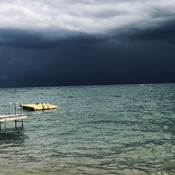 Storm clouds over lake simcoe