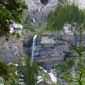 Cliffs and waterfall above 1st Memorial Lake