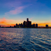 Ren Cen sunset Detroit