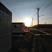 sunrise at Keeyask work site