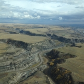 Birds eye view over Drumheller Valley