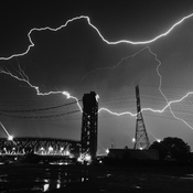 Horizontal Lightning over the Lift Bridge