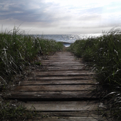 Boardwalk to the beach and Lake Ontario