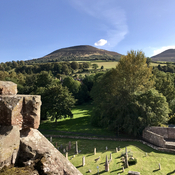 At the top of Melrose Abbey in Melrose Scotland