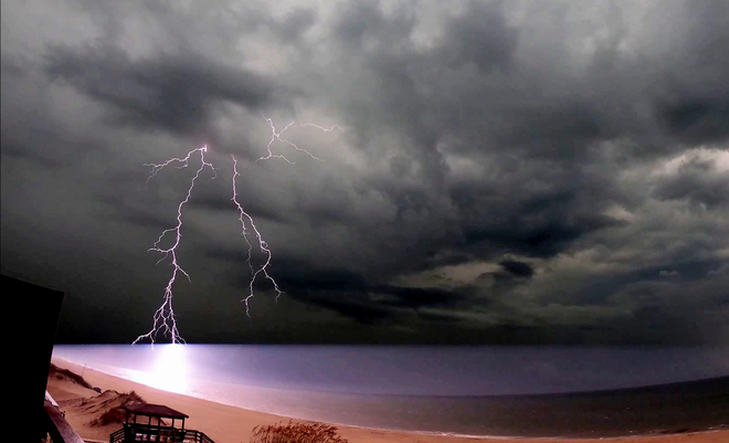 Lighting strikes ocean Nags Head, NC, USA