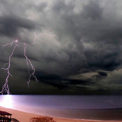 Lighting strikes ocean