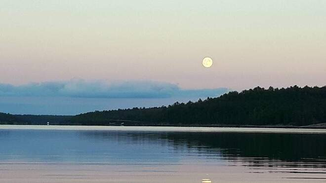 Moon over the French River