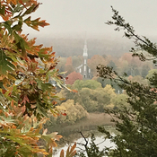 Saint Edwards church from Foley Mountain in Westport