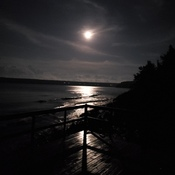 Moon over Isthmus Bay