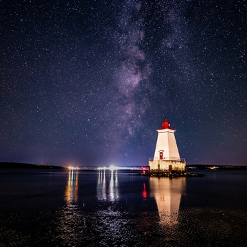 Sandy Point Lighthouse And Milky Way