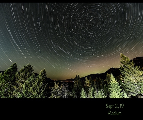 Star trails Radium Hot Springs, British Columbia, CA