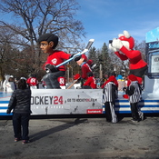 17 Nov 2019...Santa parade in Toronto...Float is for Scotia Arena, Hockey Games