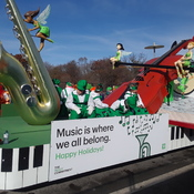 17 Nov 2019...Toronto Santa Parade dysplaying a music float with Holiday Wishes.