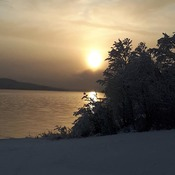 Sunset after a snow fall at West Pond Halls Bay, NL