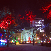 Lord Elgin Hotel , view from Confederation park light show .