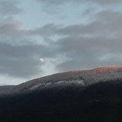 Moon rising up over Owlhead Mountain early at 3:40 pm