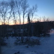 This morning's sun rise from my bedroom window in Kenora Ontario