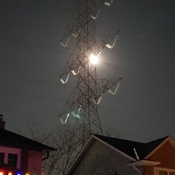 Moon lit hydro tower
