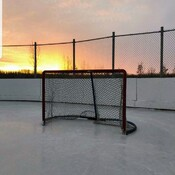 sunset over the rink