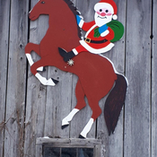 Santa arrives at the ranch on horseback!