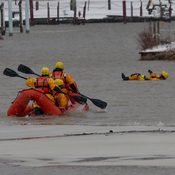Kingsville Fire Department practices cold water rescue.