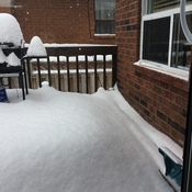 Snow that has accumulated since yesterday in Angus, Ontario