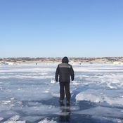Walking on ice at The Beach