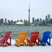 Summer Chairs with Winter Scene.