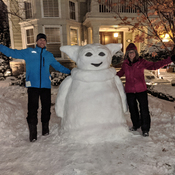 "We built Baby Yoda! ""Snow-da"" Our new neighbourhood mascot!"