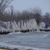 Splashcicles along Lake Ontario shore from heavy wave action while sub zero C.