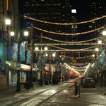Lights and decorations in downtown Calgary