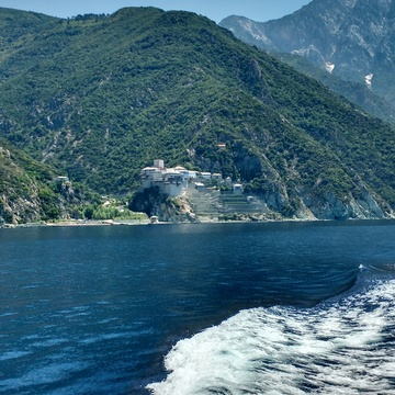 "Amazing View of Mount Athos (Greek Άγιο Όρος, ""Holy Mountain""), Greece"