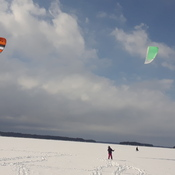 snowkiting on lake Muskoka