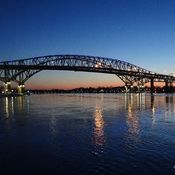 Sunset at the Blue Water Bridge Point Edward Ontario