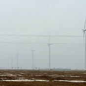 Wind turbines in some fog