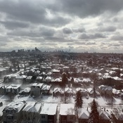 Stunning Veiw of Downtown Toronto in the Blowing Snow