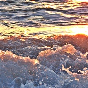 Breaking Waves Detail Enhanced by Sunset