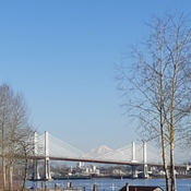 View of Mt Baker and Golden Ears Bridge
