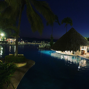 Night view of the swim up bar