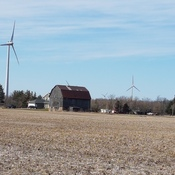 Windmills and barn.