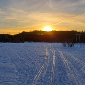 Corner Brook sunset during snowshoe