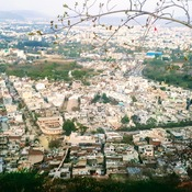Birds eye view of Udaipur city from the rope way - Rajasthan India