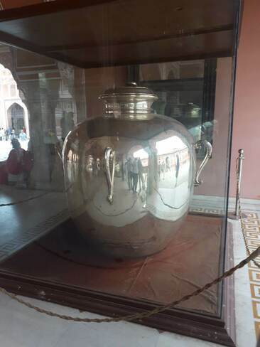 Largest Silver vessel on display at the Jaipur City palace City Palace, Pink City, Jaipur, Rajasthan, India